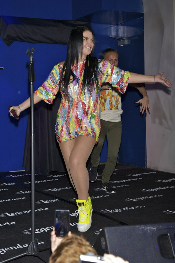 Katia Aveiro, grande soeur de Cristiano Ronaldo, en concert à Madrid le 18 septembre 2013
