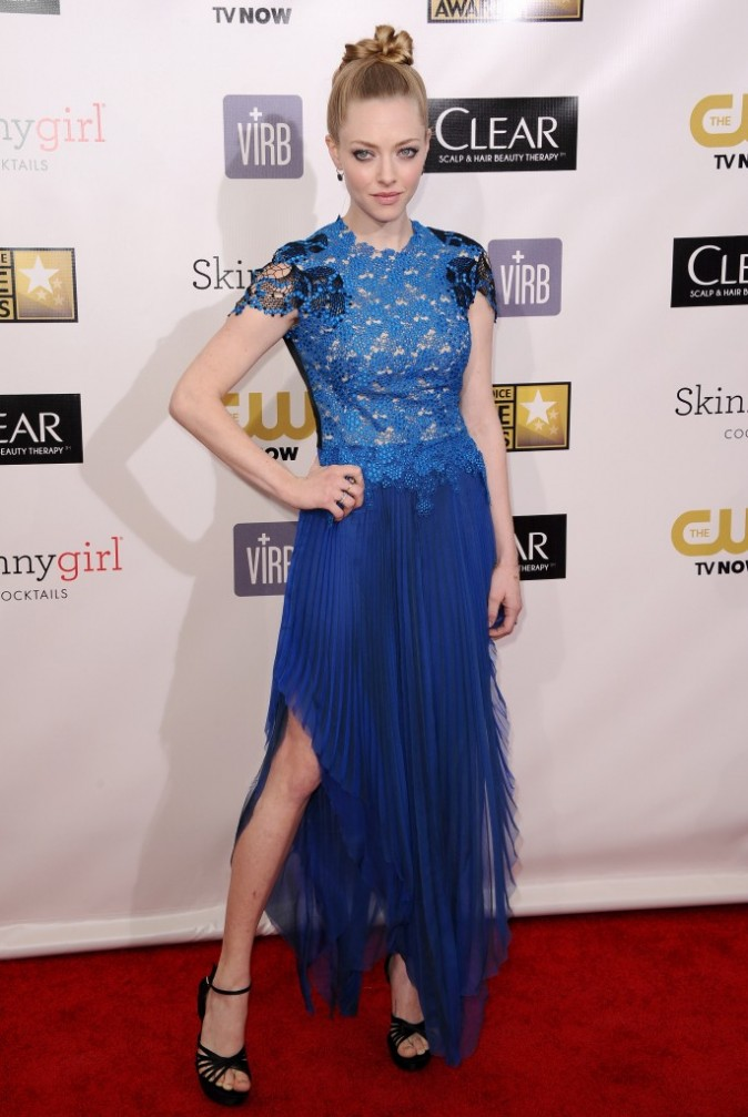 Amanda Seyfried lors des Critics' Choice Awards à Santa Monica, le 10 janvier 2013.