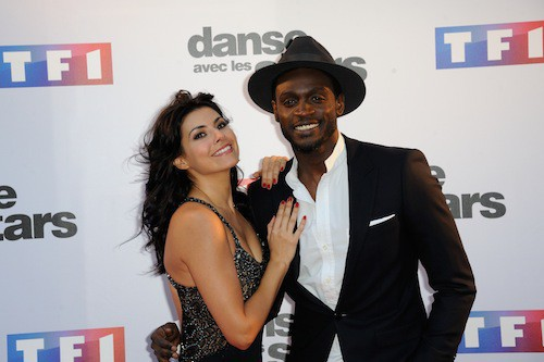 Corneille et Candice Pascal lors du photocall DALS 5, à Paris, le 10 septembre 2014