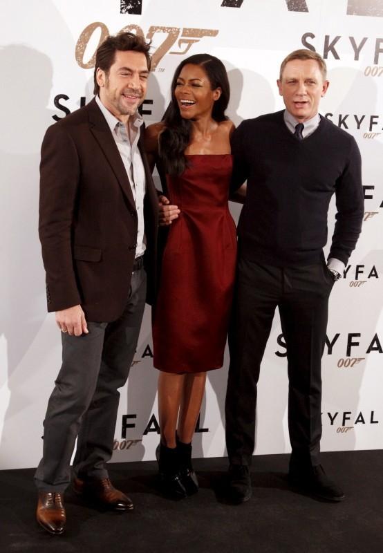Daniel Craig, Javier Bardem et Naomie Harris le 29 octobre 2012 à Madrid