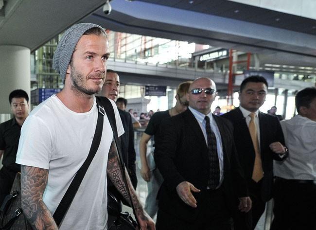 David Beckham à son arrivée à l'aéroport international de Pékin le 17 juin 2013