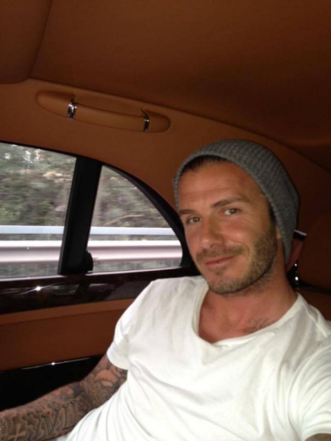 David Beckham dans sa voiture en direction du centre de Pékin le 17 juin 2013