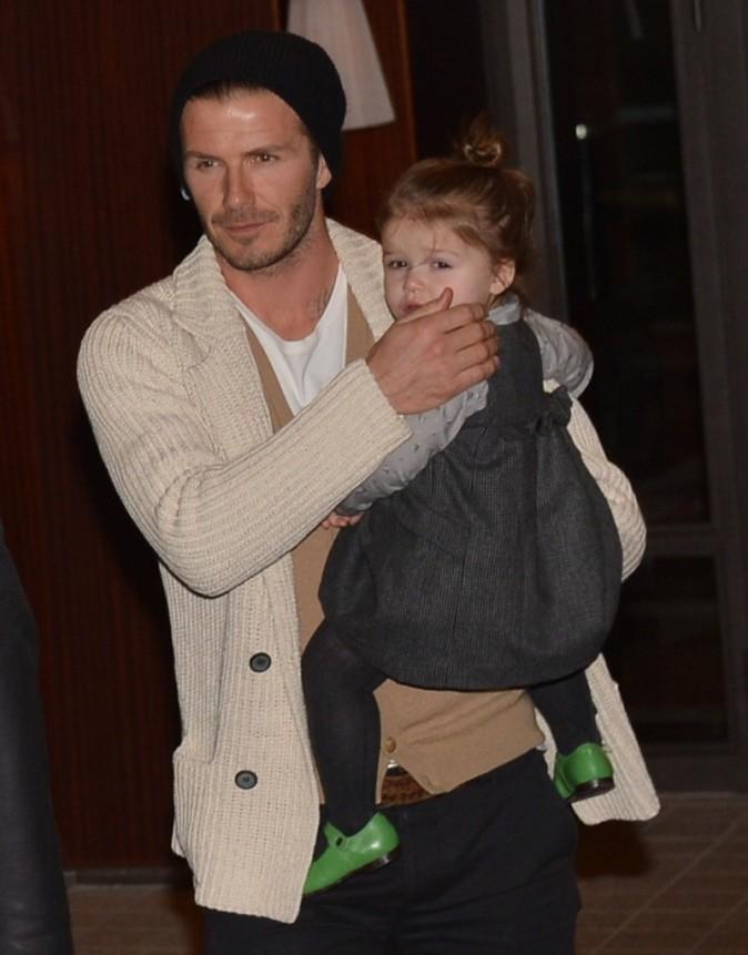 David Beckham et sa fille Harper, Paris, 20 février 2013.