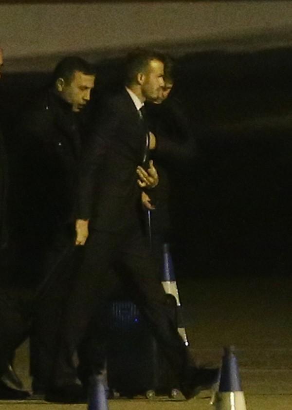 David Beckham à son arrivée à l'aéroport du Bourget de Paris le 12 février 2013