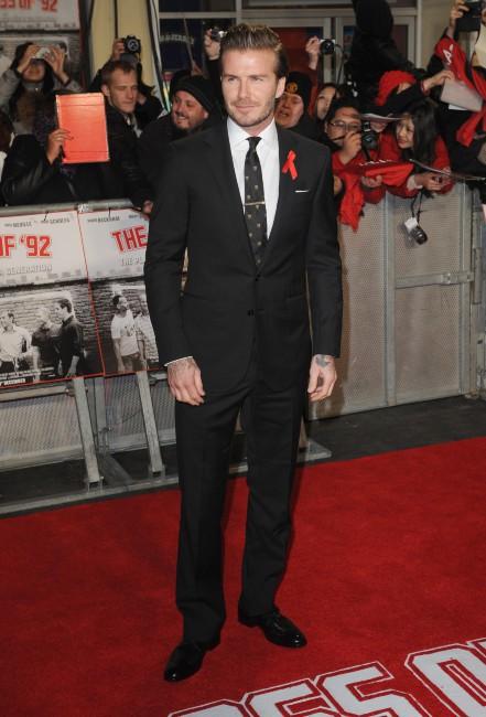 """David Beckham lors de la première mondiale du documentaire """"The Class of 92"""" à Londres, le 1er décembre 2013."""