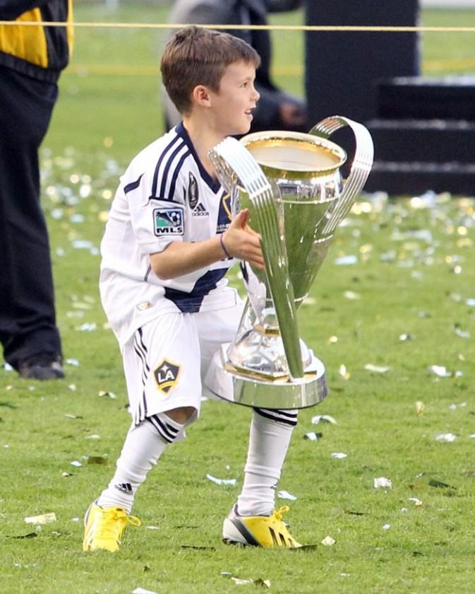 David Beckham fête la victoire des Galaxy à Los Angeles le 1er décembre 2012