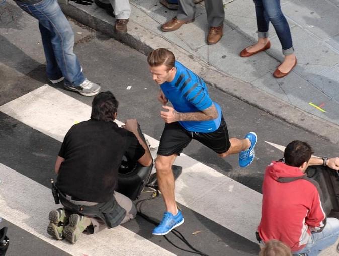 David Beckham en tournage sur la nouvelle publicité Adidas à Marbella, en Espagne, le 28 janvier