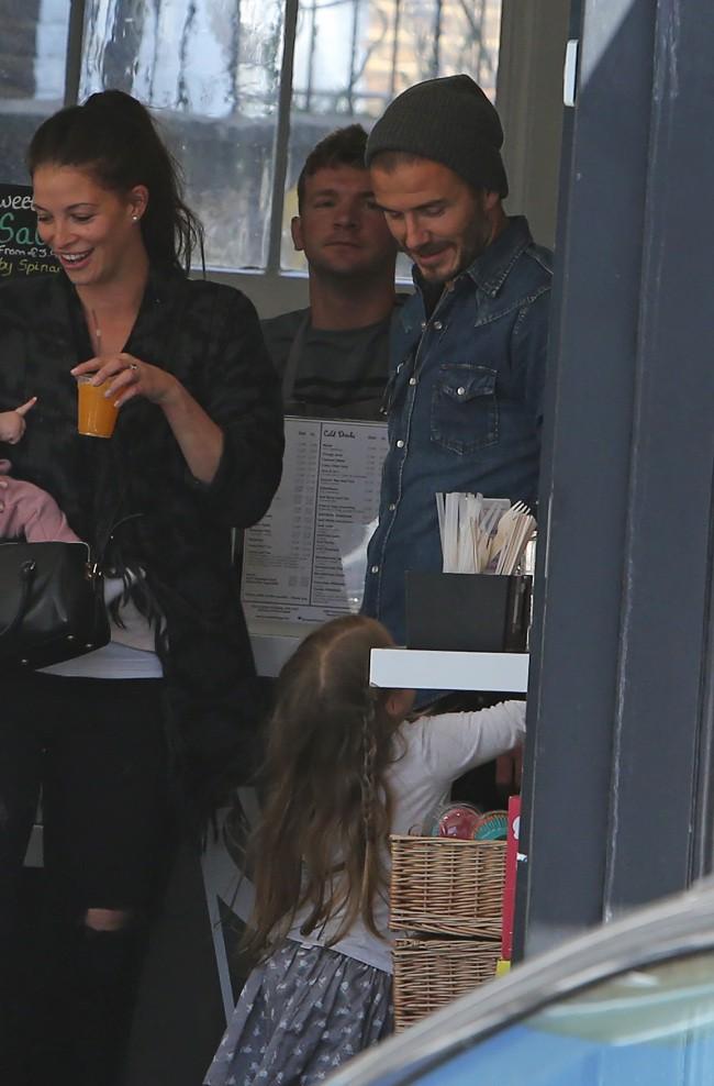 David et Harper Beckham à Londres le 12 mai 2015