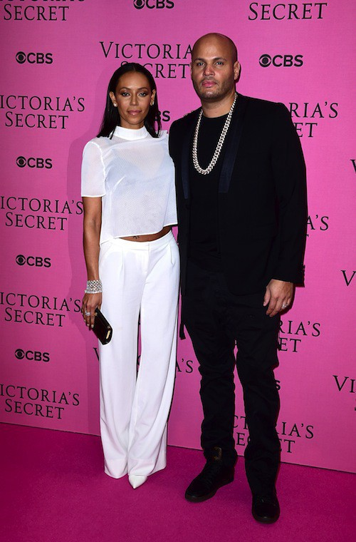 Mel B et son mari avant le défilé Victoria's Secret 2014, le 2 décembre