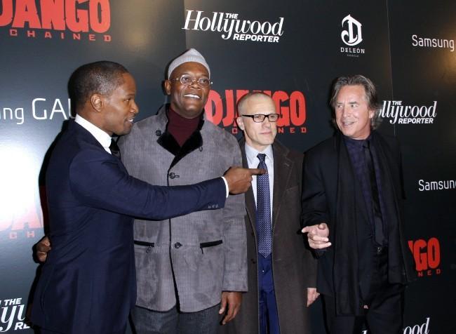 Don Johnson avec Jamie Foxx et Samuel L. Jackson le 11 décembre 2012 à New York
