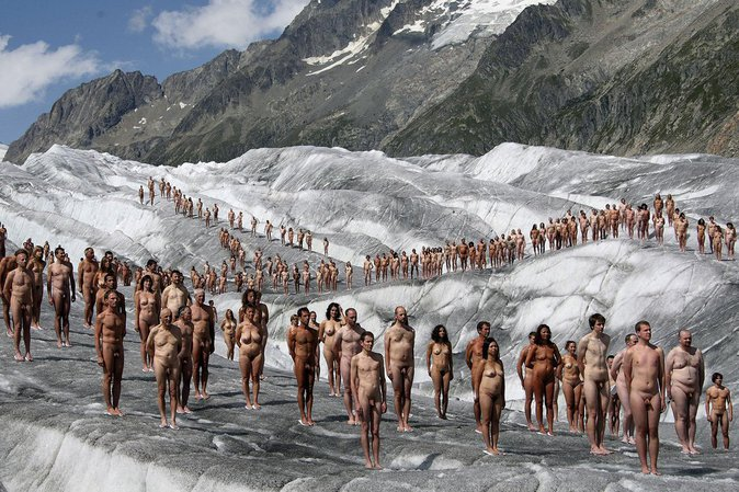 Glacier d'Aletsch, campagne de Greenpeace contre le réchauffement climatique, Alpes, Suisse, le 18 août 2007