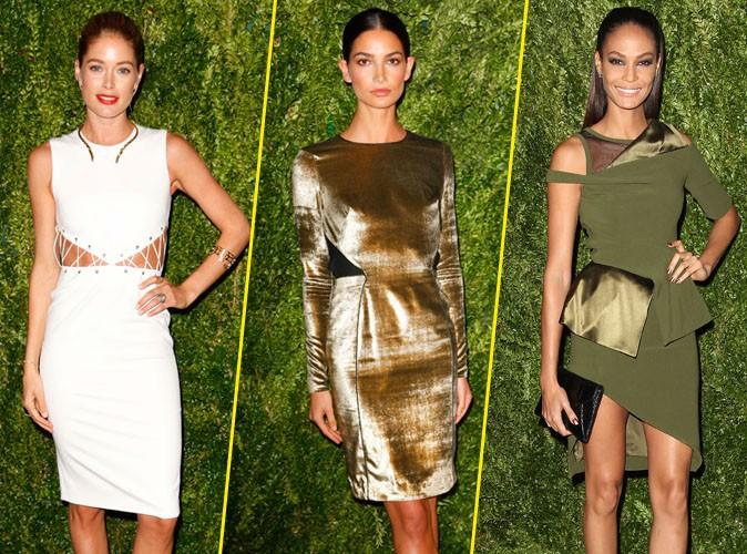 """Doutzen Kroes, Lily Aldridge et Joan Smalls lors de la soirée """"CFDA/Vogue Fashion Fund Awards"""" à New York, le 11 novembre 2013."""