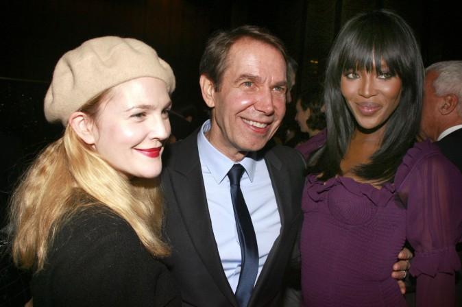 Drew Barrymore, Naomi Campbell et Jeff Koons le 9 novembre 2014