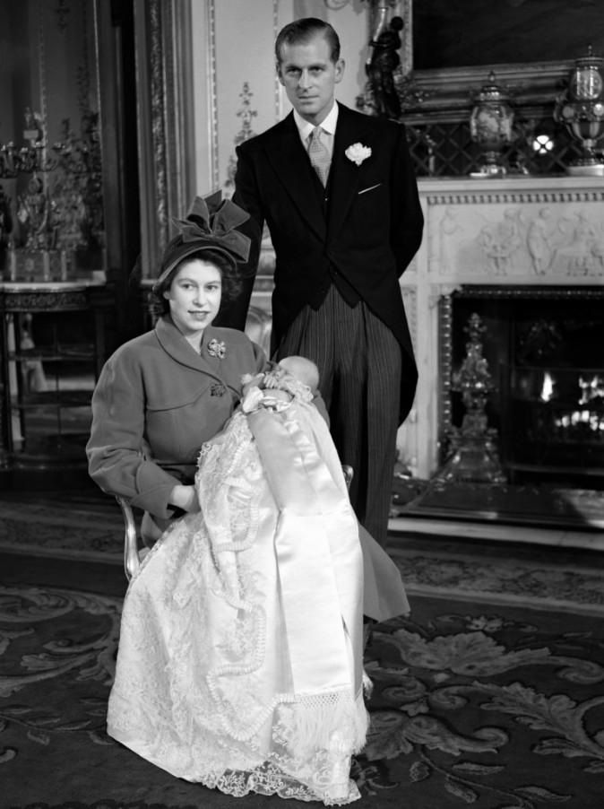 Le jour du baptême du prince Charles, en décembre 1948