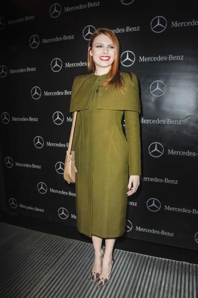 Elodie Frégé lors de la soirée Mercedes Benz à Paris, le 11 mars 2014.