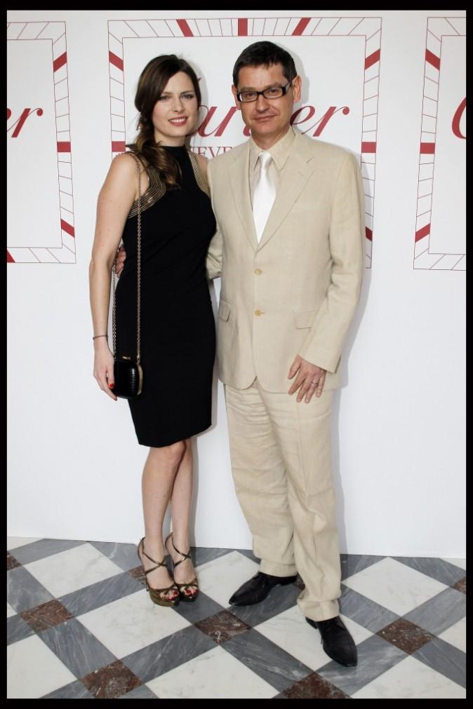 Elodie Frégé et Cyrille Vigneron, directeur général de Cartier, lors de la soirée Cartier à Paris, le 2 juillet 2012.