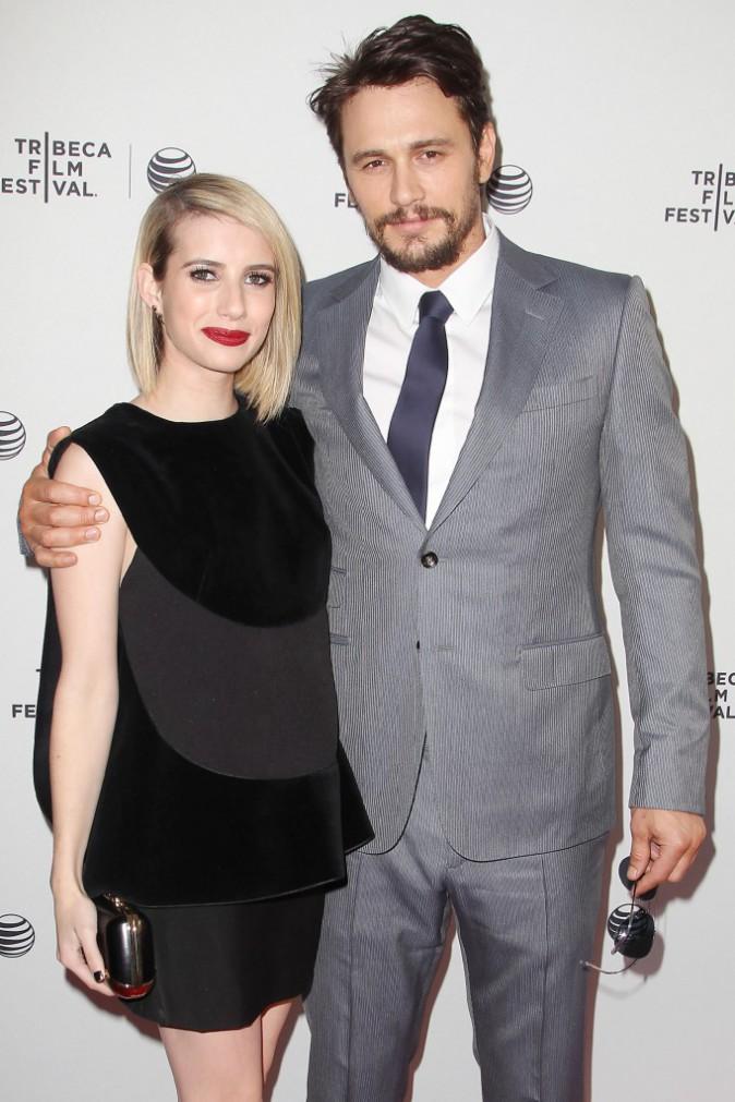 """Emma Roberts et James Franco lors de la première du film """"Palo Alto"""" à New York, le 24 avril 2014."""