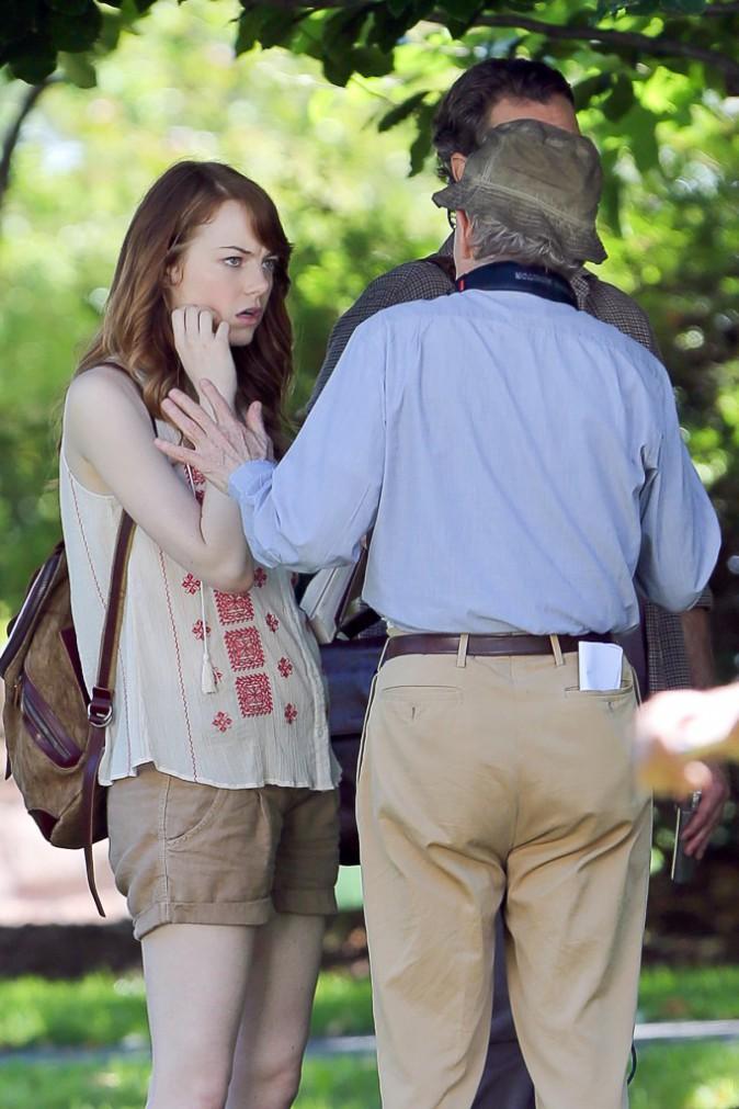 Emma Stone le 28 juillet sur le tournage du prochain film de Woody Allen