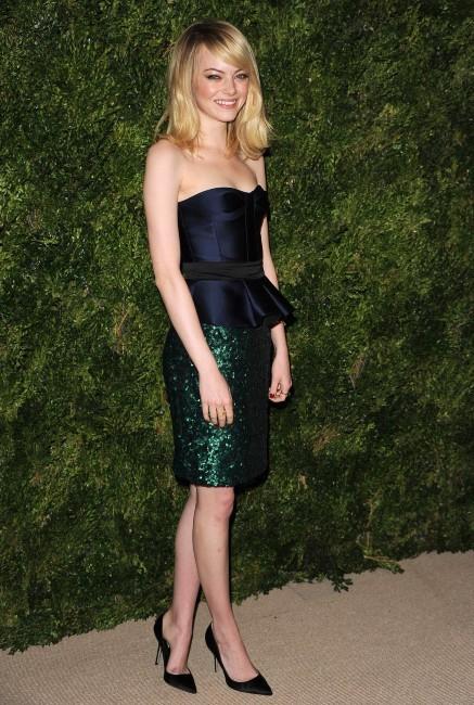 Emma Stone lors de la soirée CFDA/Vogue Fashion Fund Awards à New York, le 13 novembre 2012.