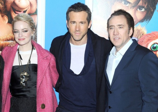 Ryan Reynolds et Emma Stone à l'avant-première de The Croods à New-York le 10 mars 2013