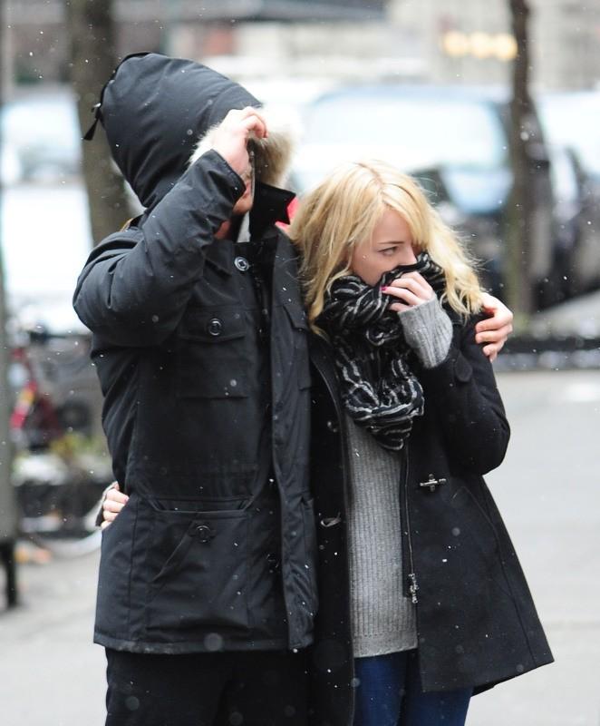 Emma Stone et Andrew Garfield à New York, le 5 février 2013.