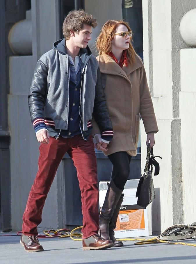Emma Stone et Andrew Garfield à East Village, le 20 novembre 2011.