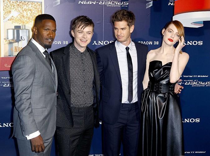 Jamie Foxx, Dane DeHaan, Andrew Garfield et Emma Stone à Paris le 11 avril 2014