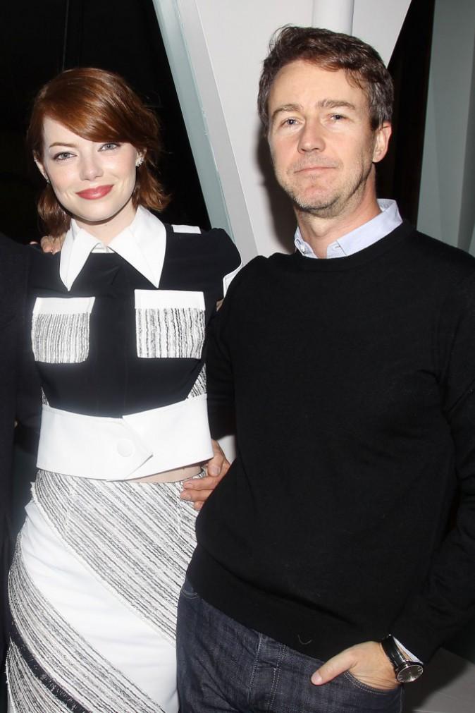 Emma Stone et Edward Norton à New York le 13 octobre 2014