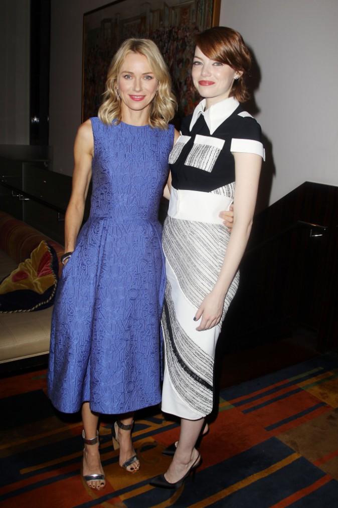 Naomi Watts et Emma Stone à New York le 13 octobre 2014