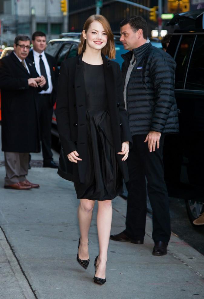 Emma Stone à New York le 15 décembre 2014