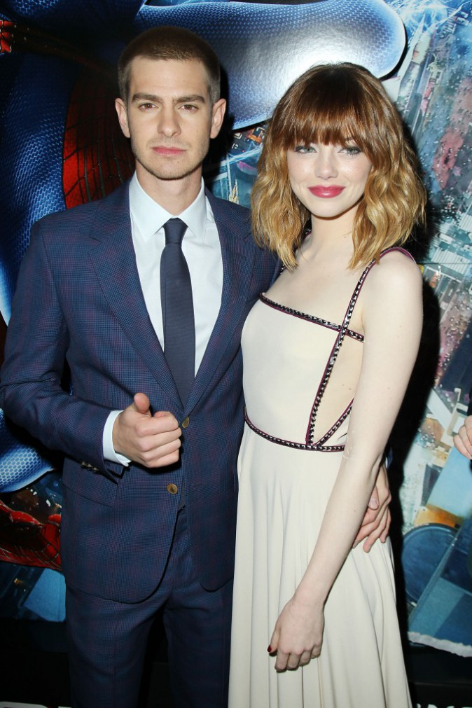 "Emma Stone et Andrew Garfield lors de la promo du film ""The Amazing Spider-Man 2"" à New York, le 24 avril 2014."