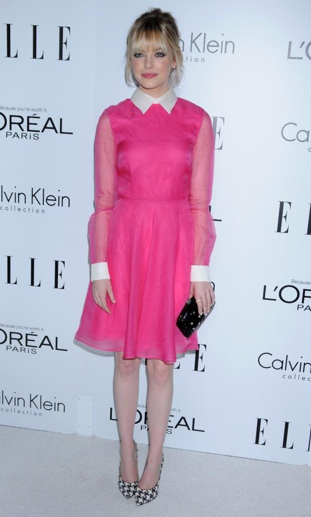 """Emma Stone lors de la soirée """"Elle Women in Hollywood"""" à Beverly Hills, le 15 octobre 2012."""