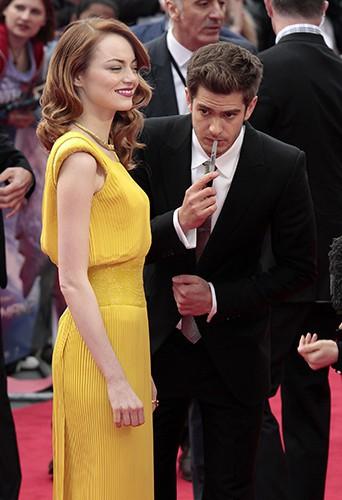 Emma Stone et Andrew Garfield à Londres le 10 avril 2014