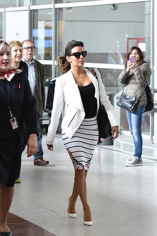 Eva Longoria à l'aéroport Roissy Charles de Gaulle le 12 mai 2014