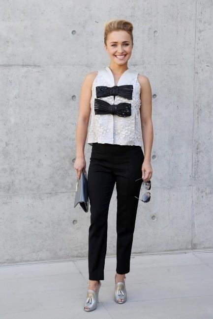 Hayden Panettiere se rend au défilé Homme Giorgio Armani lors de la Fashion Week de Milan, le 25 juin 2013.