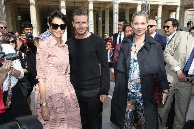 Farida Khelfa, David Beckham et Kate Moss au défilé Louis Vuitton à Paris ce jeudi 23 juin 2016