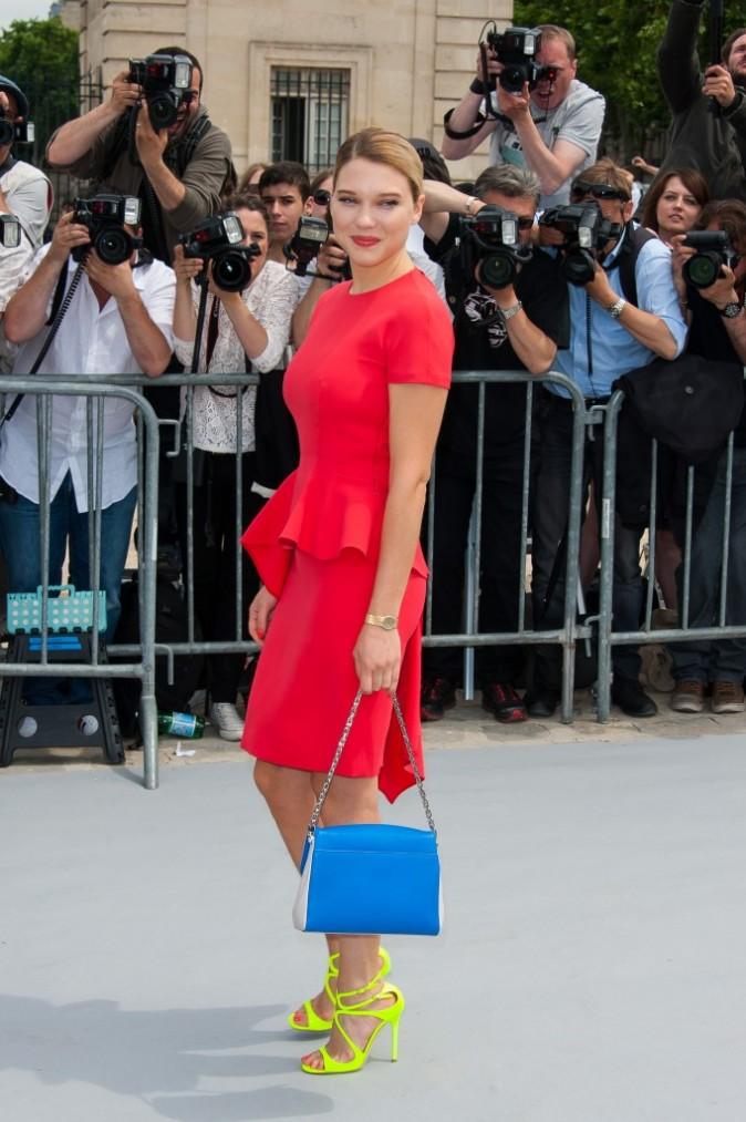 Léa Seydoux lors du défilé Haute Couture de la maison Dior à Paris, le 1er juillet 2013.