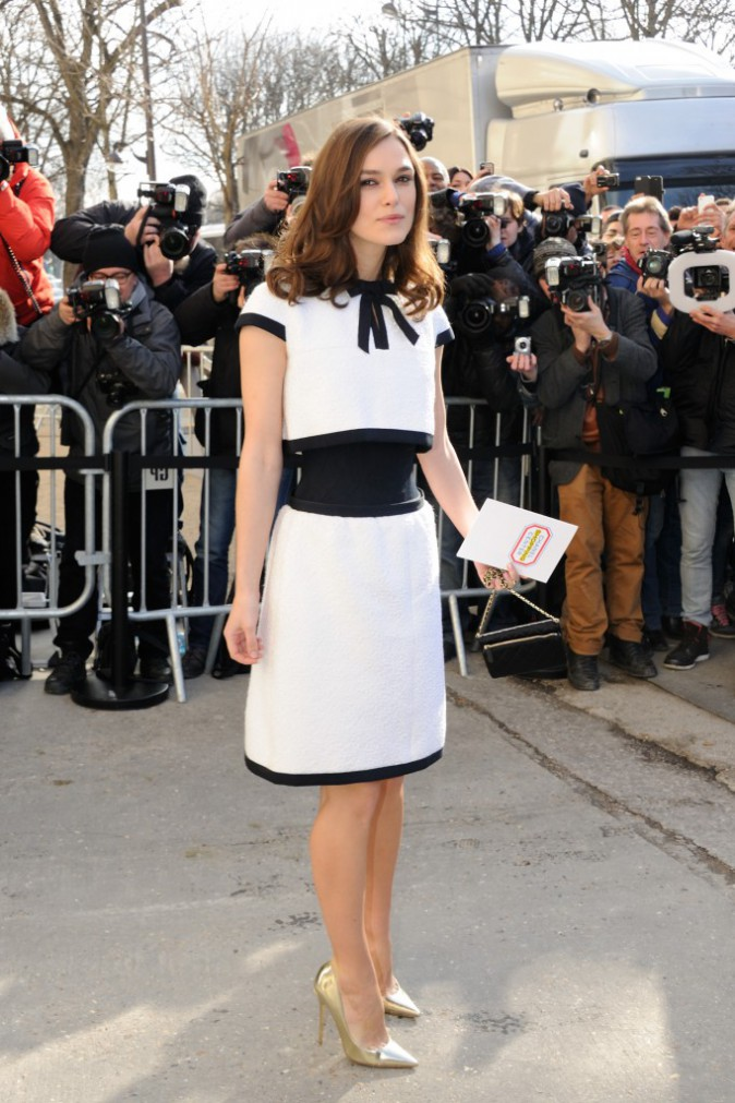 Keira Knightley lors du défilé Chanel à Paris, le 4 mars 2014.