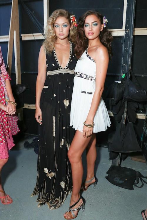 Gigi Hadid et Irina Shayk après le défilé Diane Von Fürstenberg printemps-été 2016 à New York, le 13 septembre 2015