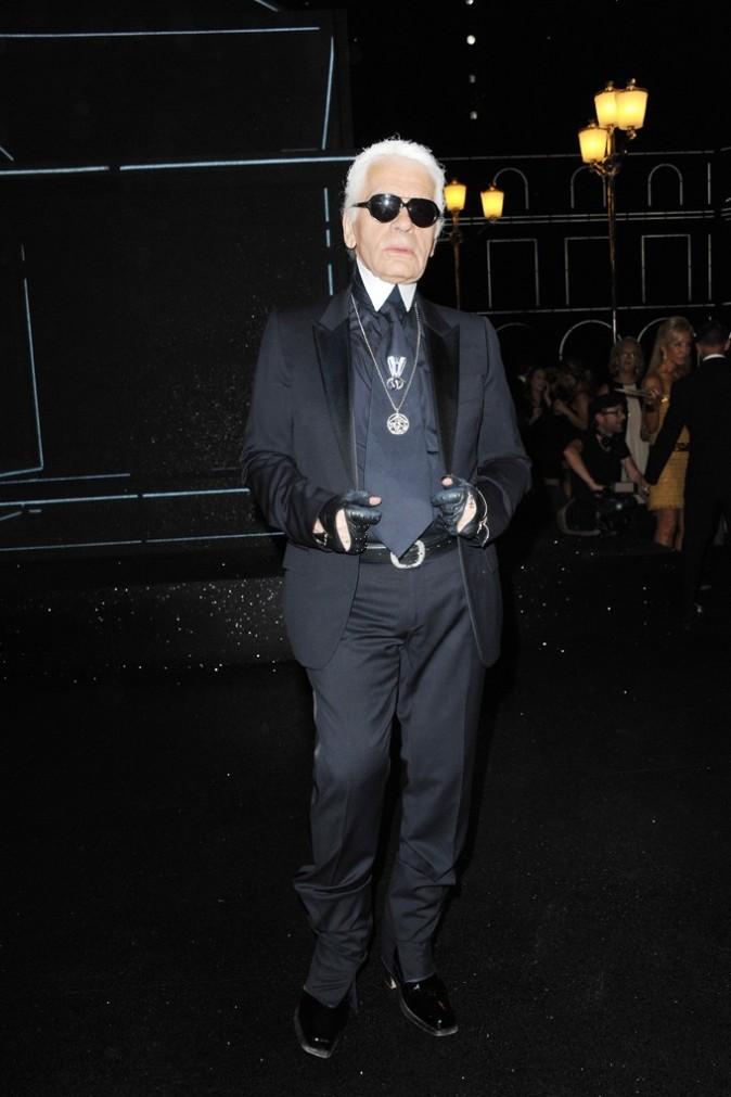 Karl Lagerfeld lors du défilé Chanel à Paris, le 5 juillet 2011.