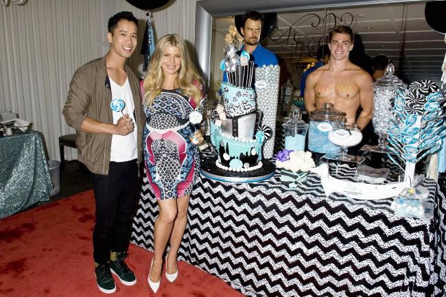 Fergie, Jared Eng et Josh Duhamel lors de la baby shower de la chanteuse américaine, le 28 juillet à Brentwood.