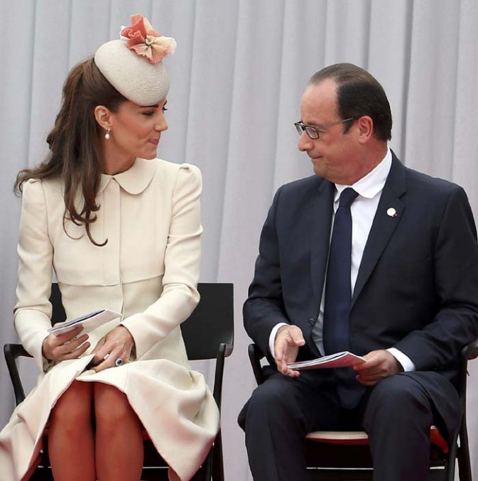 Le Prince William, Kate Middleton et François Hollande en Belgique le 4 août  2014