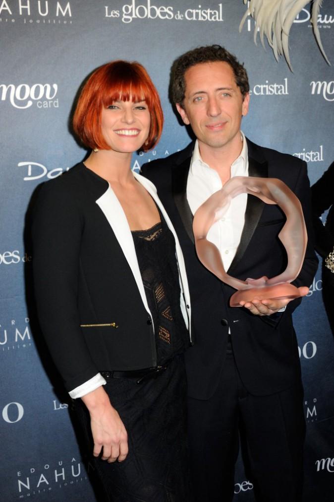 Gad Elmaleh et Fauve Hautot lors de la soirée des Globes de Cristal à Paris ,e l 10 mars 2014.