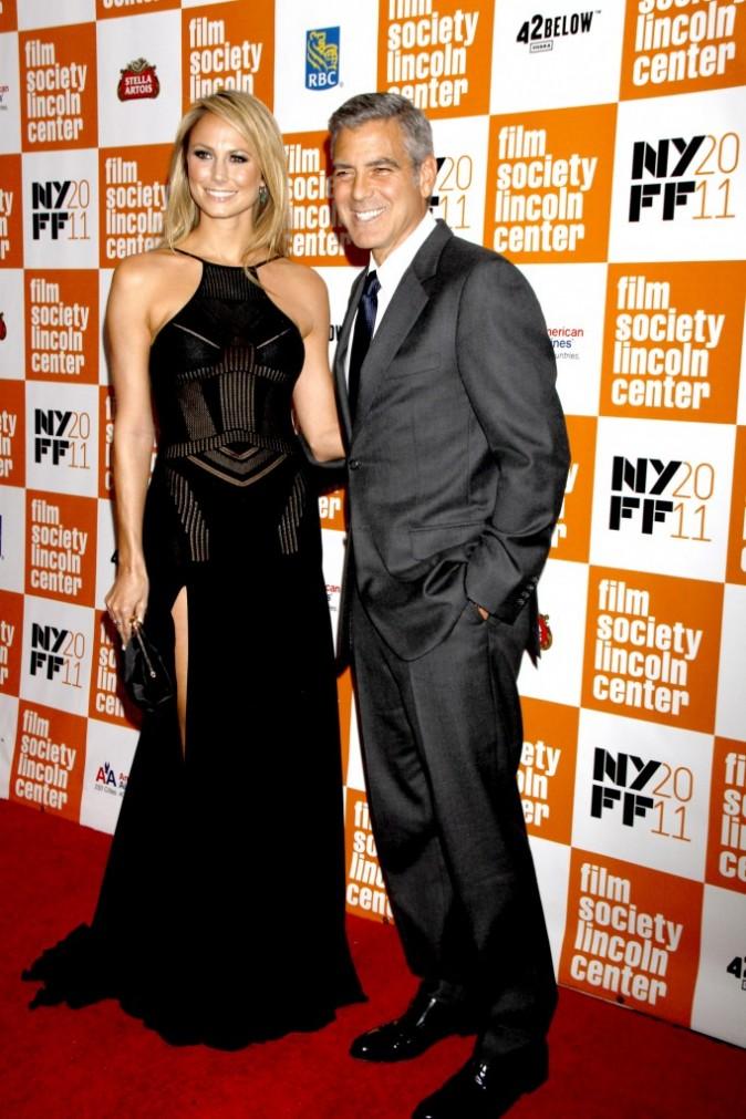 George Clooney et Stacy Keibler lors du Festival du Film de New York, le 16 octobre 2011.