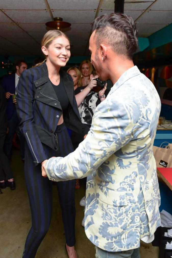 Gigi Hadid et Lewis Hamilton le 14 juillet 2015