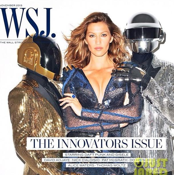 Gisele Bündchen en couverture du Wall Street Journal de novembre 2013 avec les Daft Punk