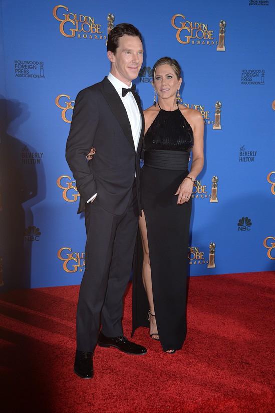 Jennifer Aniston et Benedict Cumberbatch aux Golden Globes le 11 janvier 2015