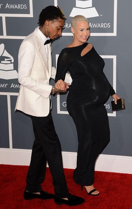 Wiz Khalifa et Amber Rose sur le tapis rouge des Grammy Awards, à Los Angeles, le 10 février 2013