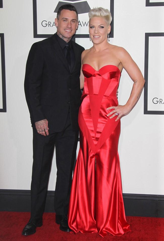 Carey Hart et Pink à la 56e cérémonie des Grammy Awards le 26 janvier 2014