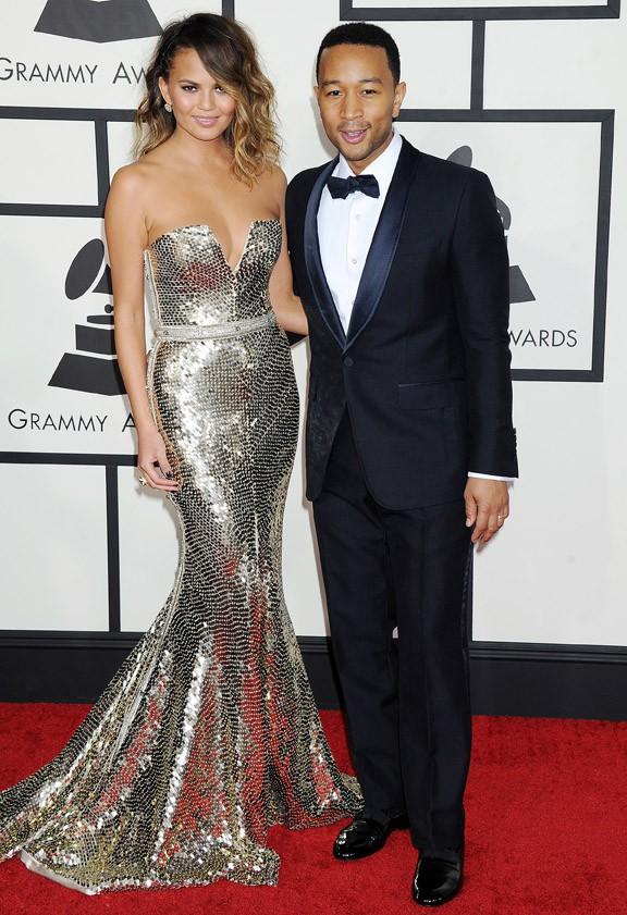 Christine Teigen et John Legend à la 56e cérémonie des Grammy Awards le 26 janvier 2014